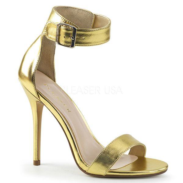 Goldfarbene High-Heel Sandalette mit breitem Fesselriemchen und großer goldfarbener Schnalle Amuse-10